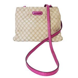 Celine macadam canvas pink metallic leather bag
